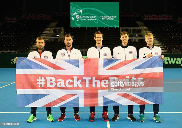 The Great Britain team LR Dan Evansteam captain Leon SmithAndy MurrayJamie MurrayKyle Edmund pose for a team photograph with the Union Jack after the...