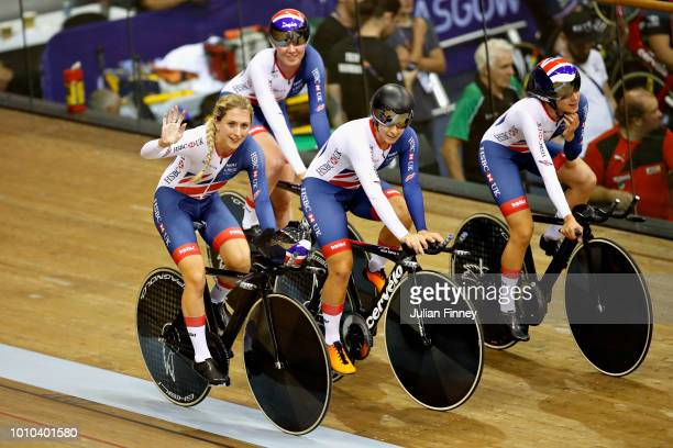 The Great Britain team Neah Evans Laura Kenny Katie Archibald and Elinor Barker celebrate winning the gold medal in the Womens Team Pursuit during...