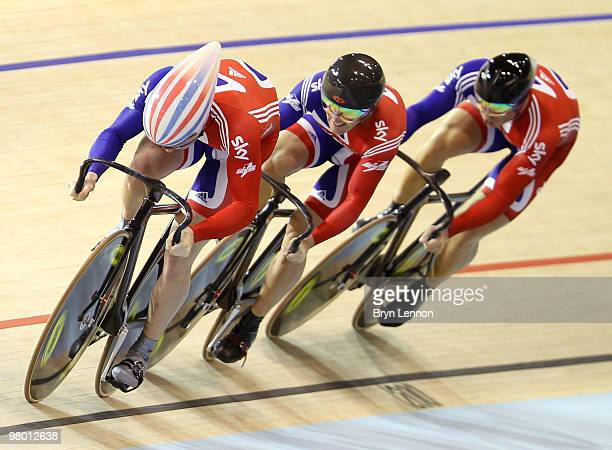 The Great Britain Team of Jason Kenny Ross Edgar and Sir Chris Hoy in action during Qualifying for Men's Team Sprint on Day One of the UCI Track...