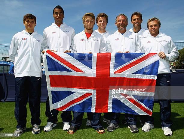 The Great Britain team of Joshua Ward-Hibbert, Liam Broady, Luke Bambridge, Peter Ashley, Coach Martin Weston and Mark Hilton ahead of the LTA Junior...