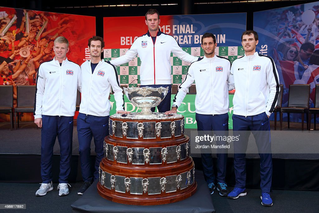 The Great Britain team of (from L-R) Kyle Edmund, Andy Murray, Captain Leon Smith, James Ward and Jamie Murray pose for photo with the Davis Cup during the draw ahead of the start of The Davis Cup Final at the Flanders Expo on November 26, 2015 in Ghent, Belgium.