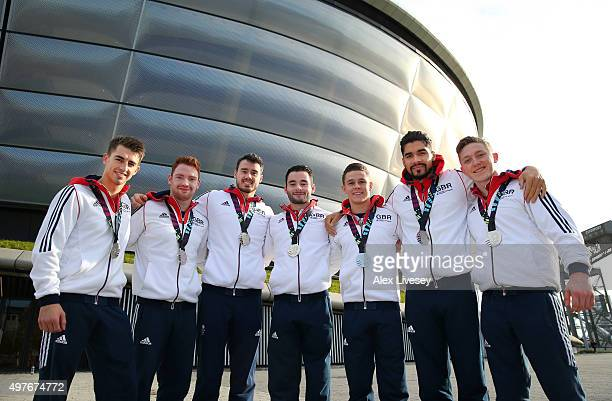The Great Britain team of Max Whitlock Daniel Purvis Kristian Thomas James Hall Brinn Bevan Louis Smith and Nile Wilson pose for a group photograph...