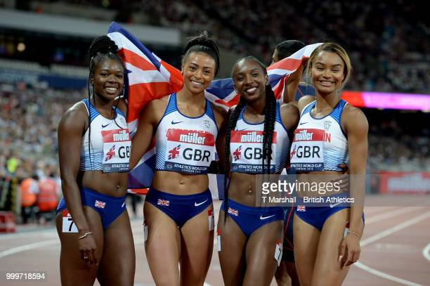 The Great Britain team pose for a photo after winning the Women's 4x100m Relay during day two of the Athletics World Cup London at the London Stadium...