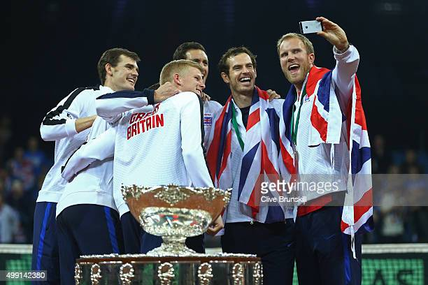 The Great Britain team pose for a 'selfie' following victory on day three of the Davis Cup Final 2015 at Flanders Expo on November 29 2015 in Ghent...