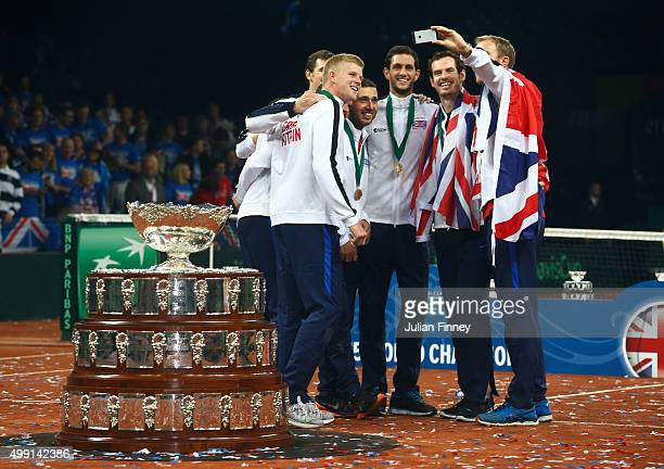 "The Great Britain team pose for a ""selfie"" following victory on day three of the Davis Cup Final 2015 at Flanders Expo on November 29, 2015 in Ghent,..."