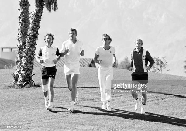 The Great Britain team training before the 1978 Davis Cup Final at the Mission Hills Country Club on December 6, 1978 in Rancho Mirage, United...