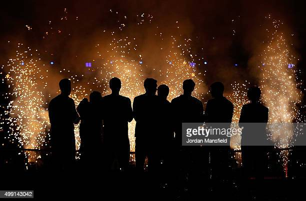 The Great Britain team watch fireworks following their victory during day three of the Davis Cup Final match between Belgium and Great Britain at...