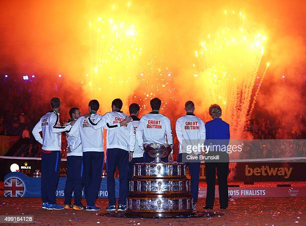The Great Britain team watch fireworks following their victory on day three of the Davis Cup Final 2015 at Flanders Expo on November 29 2015 in Ghent...