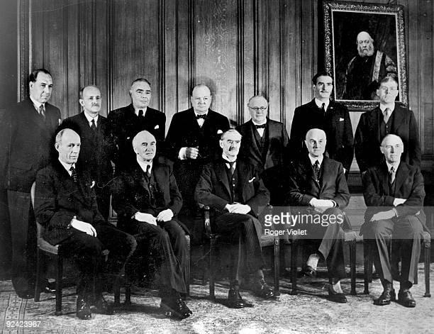 The Great Britain War cabinet Up from left to right Sir John Anderson Lord Hankey Hore Belisha Winston Churchill K Wood Eden Bridges Sat Halifax J...