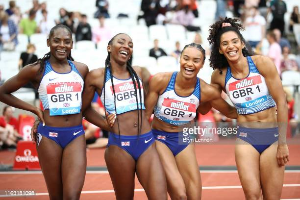 The Great Britain Women's 4x100m Relay team of Ashleigh Nelson, Imani-Lara Lansiquot, Bianca Williams and Daryll Neita after coming second in the...