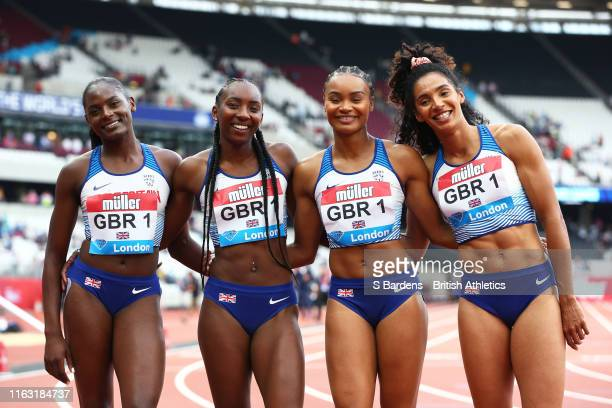The Great Britain Women's 4x100m Relay team of Ashleigh Nelson ImaniLara Lansiquot Bianca Williams and Daryll Neita after coming second in the...