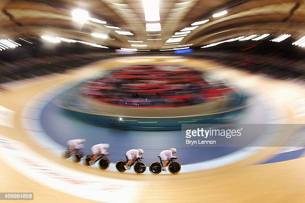 The Great Britain women's pursuit team in action during the Team Pursuit Qualifying Session on day one of the UCI Track Cycling World Cup at the Lee...
