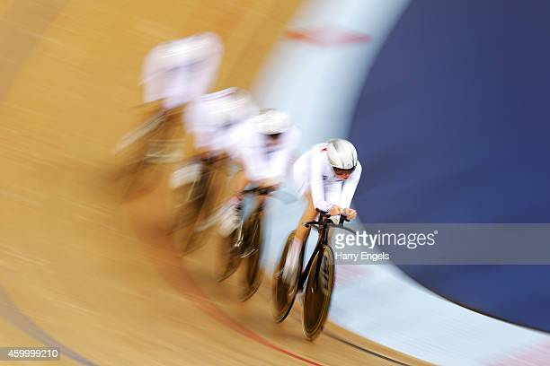 The Great Britain women's pursuit team in action during the Team Pursuit Semi Finals on day one of the UCI Track Cycling World Cup at the Lee Valley...