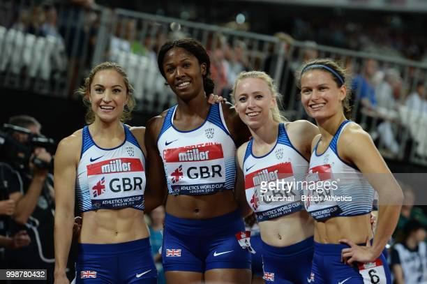 The Great Britain Women's Relay team pose for a photo after the Women's 4x400m Relay during day one of the Athletics World Cup London at the London...
