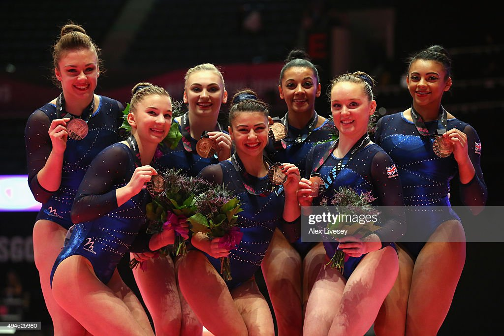 The Great Britain Women's team celebrates winning Bronze on Day 5 of the 2015 World Artistic Gymnastics Championships at The SSE Hydro on October 27, 2015 in Glasgow, Scotland.