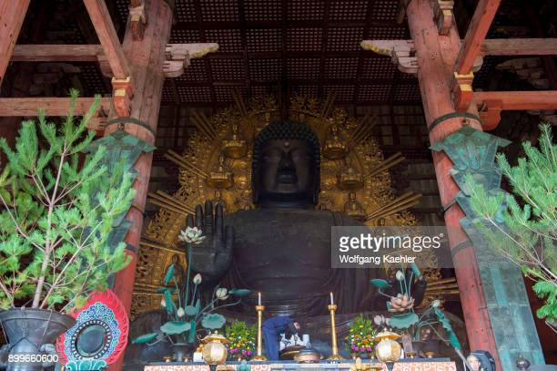 The Great Buddha in the Great Buddha Hall of the Todaiji which is a Buddhist temple complex located in the city of Nara Japan