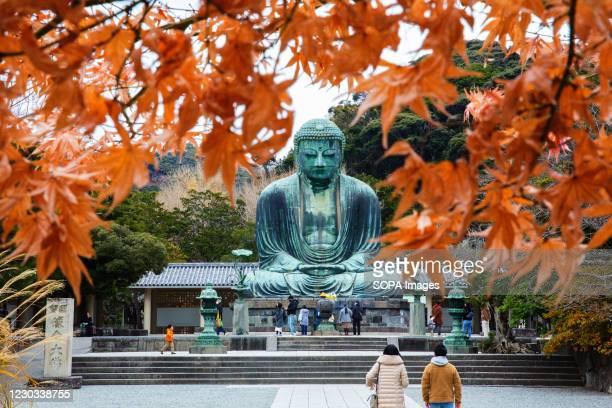 The great Buddha of Kamakura statue seen on the grounds of Kotokuin Temple.