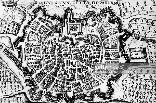 The great city of Milan engraving of a map of Milan Italy 17th century
