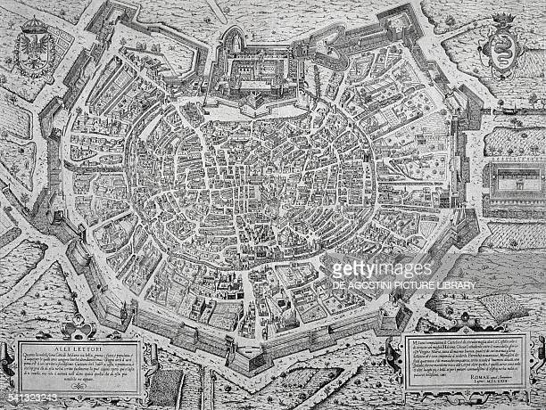 The Great City of Milan map by Antonio Lafrery copper engraving 495x55 cm Italy 16th century
