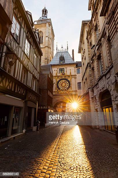 the great clock in rouen - rouen stock pictures, royalty-free photos & images