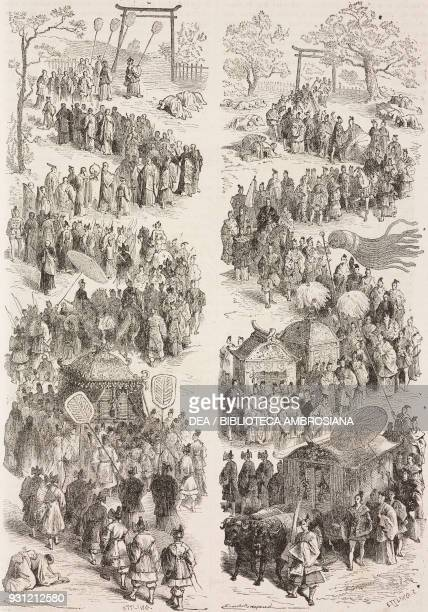 The great Dairi or Mikado procession Kyoto drawing by Emile Antoine Bayard after a Japanese sketch from Japan by Aime Humbert 18631864 from Il Giro...