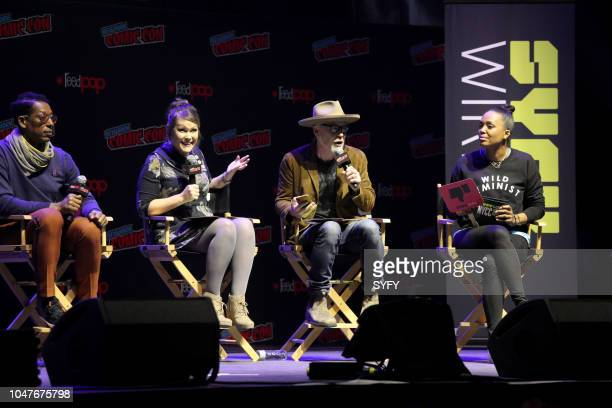 CON 'The Great Debate' Pictured Orlando Jones Amber Nash Adam Savage Aisha Tyler