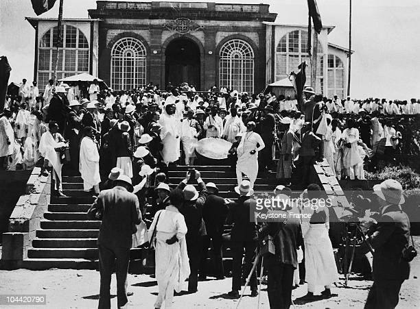 The Great Drumer Of The Negus'S Palace In Addis Abeba Announces The General Mobilisation Of The Ethiopian Population On The Day Of The Italian...