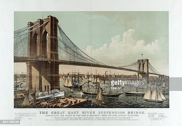 The great East River suspension bridge Connecting the cities of New York Brooklyn From New York looking southeast Chromolithograph by Currier Ives...