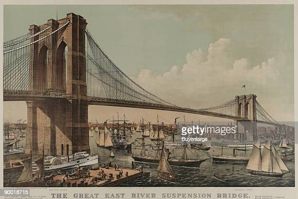 The great East River suspension bridge Connecting the cities of New York Brooklyn From New York looking southeast