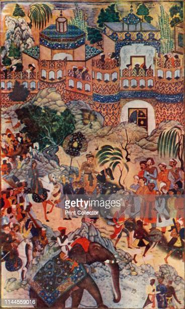 The Great Emperor Akbar Enters His City in State' , . The Mughal emperor Akbar's triumphant entry into the fort of Surat in western India, after...
