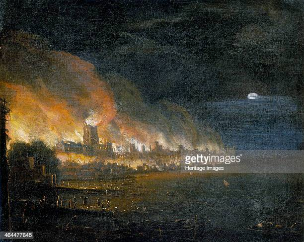 'The Great Fire of London, 1666', . As is usual in paintings of the Great Fire the flaming St Paul's Cathedral dominates the scene. The view is taken...