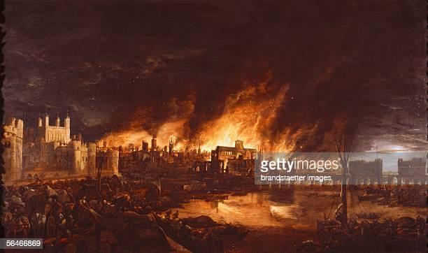 The Great Fire of London 1666 Painting Dutch School [Das grosse Feuer in London 1666 Gemaelde Niederlaendische Schule]