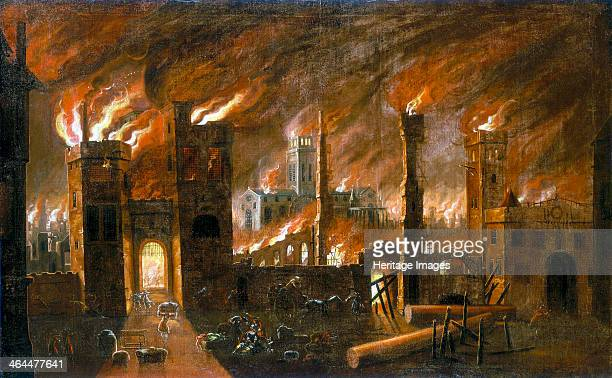 'The Great Fire of London 1666' View looking towards the west facade of old St Paul's Cathedral seen from Blackfriars slightly south of Ludgate On...