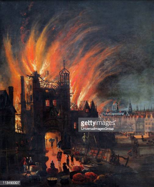 The Great Fire of London 25 September 1666 On left people are saving what they can from a burning building In the middle distance on right Old St...