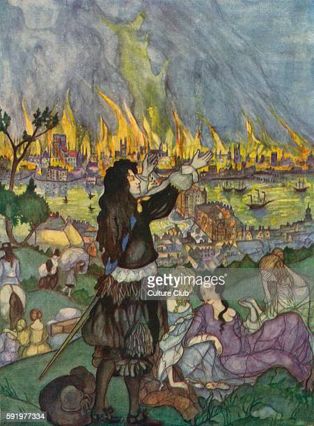 The Great Fire of London illustration by Kitty Shannon 1926 2 5 September 1666