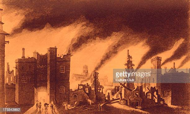 The Great Fire of London with view of Ludgate Hill and St Paul's Cathedral 1666 Artist unknown