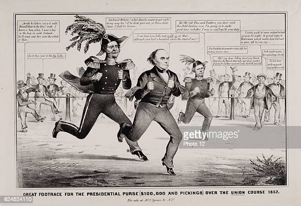 The Great Footrace for the Presidential Purse 1852 Satire on the presidential election of 1852 showing Winfield Scott Daniel Webster and Franklin...