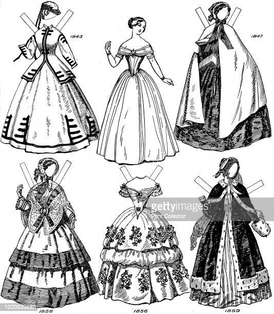 Some Women's Fashions from 1843 to 1893' circa 1934 Illustration of costume during the 'half century from 18431893' Instructions are given in the...