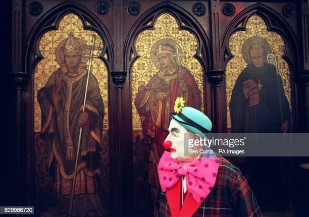 The Great Garibaldi alias Edward Larkin from Wandsworth London awaits the dozens of other clowns attending the 52nd Annual Grimaldi church service at...