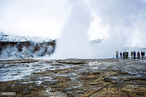 the great geysir, selfoss, iceland. - selfoss stock photos and pictures