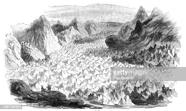 The great glacier of Lauteraar, 1844. The Lauteraargletscher in the Bernese Alps, Switzerland. Glaciologist James David Forbes on the movement of...