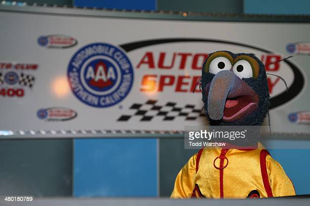 The Great Gonzo speaks with the media prior to the NASCAR Sprint Cup Series Auto Club 400 at Auto Club Speedway on March 23 2014 in Fontana California