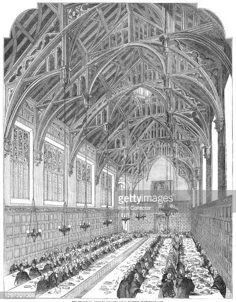 The Great Hall, Lincoln's Inn - the Royal Dejeuner, 1845. Banquet in the Great Hall at Lincoln's Inn, one of the Inns of Court at Holborn in London....