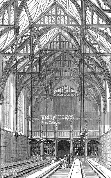 The Great Hall, south end, Lincoln's Inn New Buildings, 1845. Great Hall at Lincoln's Inn, one of the Inns of Court at Holborn in London. The new...
