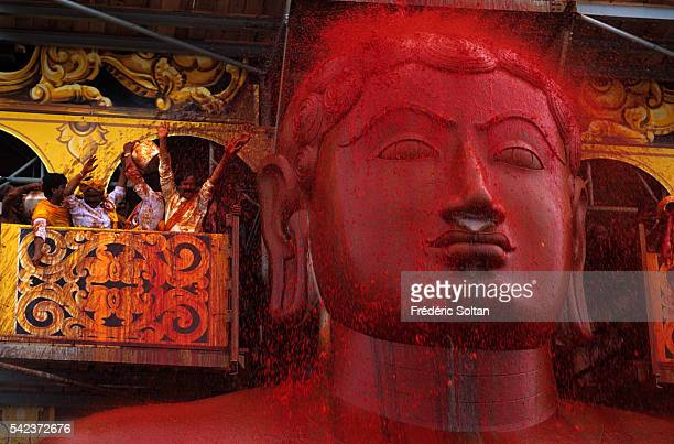 The Great Head Bathing Ceremony of Lord Bahubali Mahamasthakabhisheka in Sravanabelagola an important center for Jain culture The 18meterhigh statue...