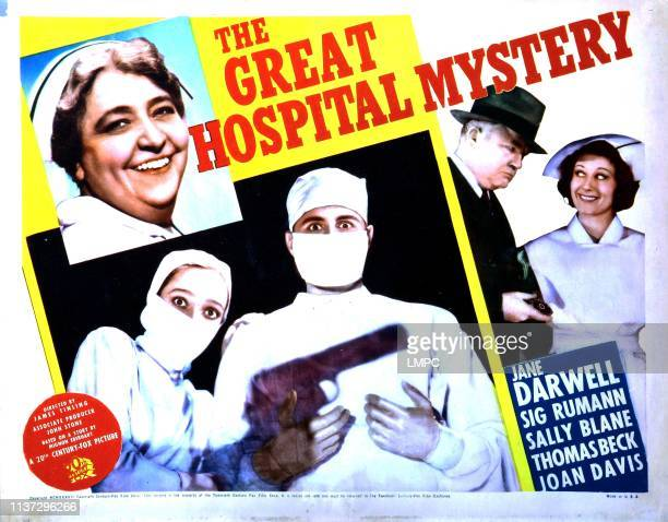 The Great Hospital Mystery poster Jane Darwell masked from left Sally Blane Thomas Beck right from left Wade Boteler Joan Davis 1937