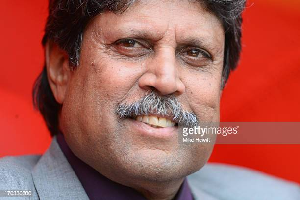 The great Indian all rounder Kapil Dev enjoys the cricket during the ICC Champions Trophy Group B match between India and West Indies at The Kia Oval...