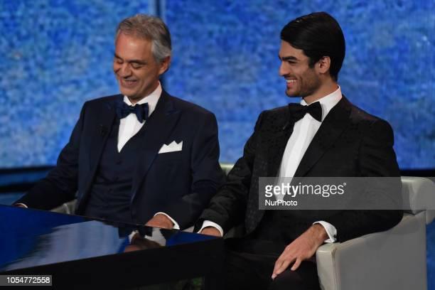 "The great Italian singer Andrea Bocelli and his son Matteo Bocelli guests of the episode of the television program ""che tempo che fa"" on..."