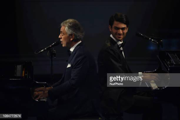 The great Italian singer Andrea Bocelli sings with his son Matteo Bocelli guests of the episode of the television program quotche tempo che faquot on...