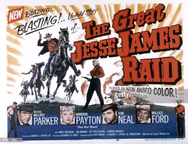 The Great Jesse James Raid poster bottom from left Willard Parker Barbara Payton Tom Neal Wallace Ford 1953